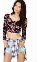 Nasty Gal In Bloom Crop Tee - Lyst