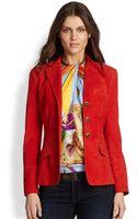 Ralph Lauren Blue Label Suede Riding Jacket - Lyst