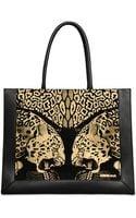 Roberto Cavalli Frame Leopard Print Leather Tote - Lyst