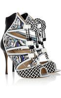 Nicholas Kirkwood Patentleather and Printed Silktwill Sandals - Lyst