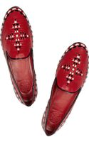 Tory Burch Marlow Embroidered Leather Loafers - Lyst