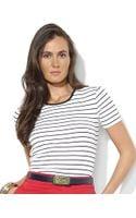 Lauren by Ralph Lauren Short Sleeved Striped Cotton Crewneck Tee - Lyst