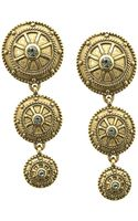 T Tahari Antique Gold Crystal-embellished Drop Earrings - Lyst