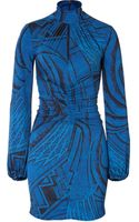 Emilio Pucci Silk Print Dress in Cobalt - Lyst