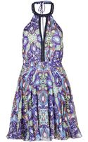 Matthew Williamson Escape Printed Silk Halter Dress in Blue - Lyst