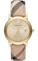 Burberry Haymarket Check Strap Round Watch 38m - Lyst