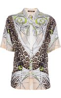 Roberto Cavalli Printed Shirt Dress - Lyst