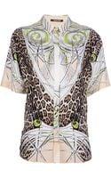 Roberto Cavalli Printed Shirt Dress - Lyst