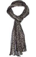 Saint Laurent Crinkled Leopard Print Scarf - Lyst