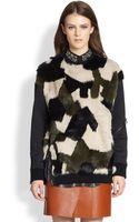 3.1 Phillip Lim Camouflage Dyed Rabbit Furpaneled Sweatshirt - Lyst