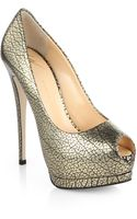 Giuseppe Zanotti Snakeprint Metallic Leather Platform Pumps - Lyst