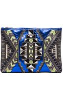 Matthew Williamson Threadwork Leather Clutch in Bluegeometric Print - Lyst