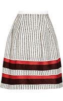 Oscar de la Renta Embroidered Shantung Skirt - Lyst