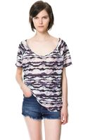 Zara Printed Tshirt - Lyst