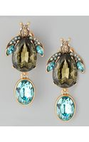 Oscar de la Renta Crystal Bug Clip Earrings Greenblue - Lyst