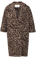 Thakoon Addition Leopard Printed Leather Collared Coat - Lyst