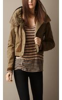 Burberry Suede Detail Wax Cotton Jacket - Lyst