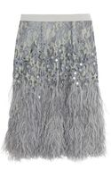 Matthew Williamson Feather-trimmed Embellished Lace Skirt - Lyst