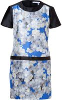 Victoria, Victoria Beckham Printed Silkshantung Dress in Blue Sakura Blossom - Lyst