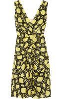 Marni Printed Ruched Silk Dress - Lyst