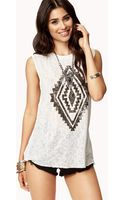 Forever 21 Tribal Graphic Muscle Tee - Lyst