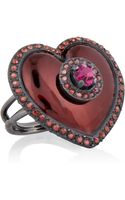 Lanvin Swarovski Crystal Brass and Enamel Heart Ring - Lyst