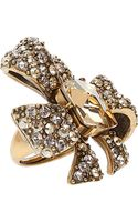 Oscar de la Renta Crystal Bow Ring - Lyst