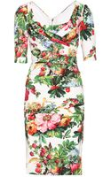 Dolce & Gabbana Print Silk Dress with Drape Detail - Lyst