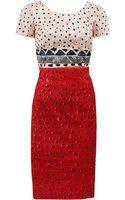 Oscar de la Renta Short Sleeve Jewel Neck Painted Slim Dress - Lyst