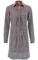 Oscar de la Renta Long Sleeve Pleat Front Shirt Dress - Lyst