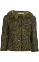 Michael Kors Mink Collar Heringbone Jacket - Lyst