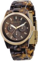 Michael Kors Goldplated and Tortoiseshell Acrylic Chronograph Watch Brown - Lyst
