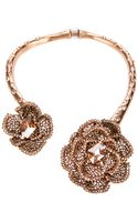 Oscar de la Renta Embellished Rose Necklace - Lyst