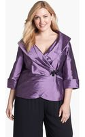 Alex Evenings Taffeta Wrap Blouse - Lyst