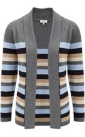Cc Petite Grey Stripe Edge To Edge Cardigan - Lyst