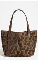 Fendi Zucca Small Pleated Shopper - Lyst