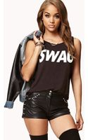 Forever 21 Studded Faux Leather Shorts - Lyst
