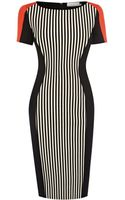 Karen Millen Stripe Ponte Roma Dress - Lyst