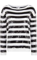 Mango Sequined Stripes Sweater - Lyst
