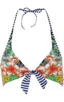 Seafolly Aloha Tie Front Halter Bikini Top - Lyst