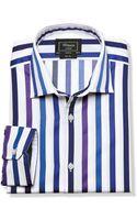 Tm Lewin Slim Fit Purple Stripe Fancy Shirt - Lyst