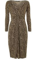 Weekend By Maxmara Karim Vneck Leopard Print Dress - Lyst