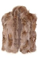 Miu Miu Ribbed Knit Vest with Fur Trim - Lyst