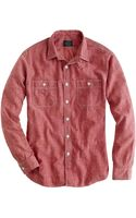 J.Crew Slim Red Selvedge Chambray Utility Shirt - Lyst