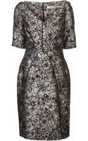 Lela Rose Mettalic Floral Print Dress - Lyst