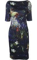 Lela Rose Boat Neck Fitted Dress - Lyst