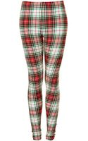 Topshop Tartan Check Denim Leggings - Lyst