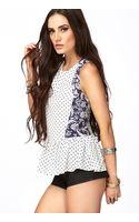 Forever 21 Polka Dot Floral Peplum Top - Lyst