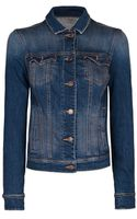 Mango Dark Wash Denim Jacket - Lyst