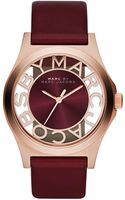 Marc By Marc Jacobs Henry Maroon Leather Ladies Watch - Lyst